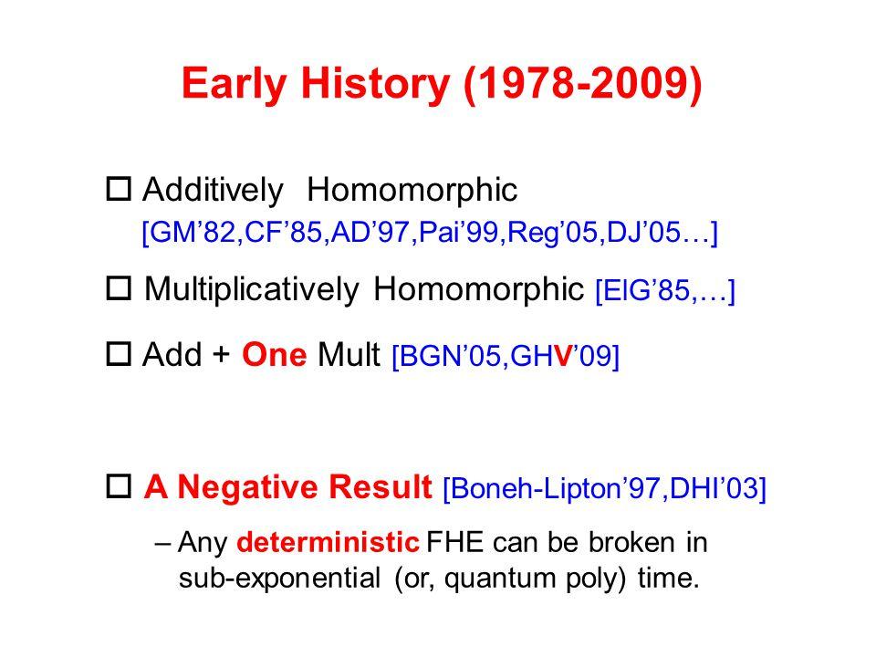 Early History (1978-2009)  Additively Homomorphic [GM'82,CF'85,AD'97,Pai'99,Reg'05,DJ'05…]  Multiplicatively Homomorphic [ElG'85,…]